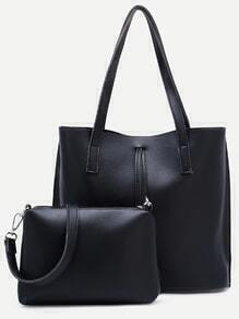 Black Tote Bag With Crossbody Bag