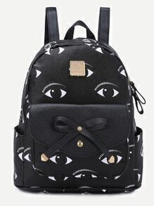 Black Eyes Print Bow Flap Pocket Backpack