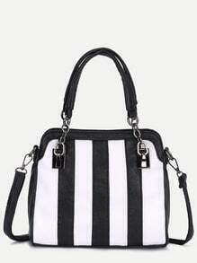 Contrast Striped Zip Pocket Chain Strap Tote Bag
