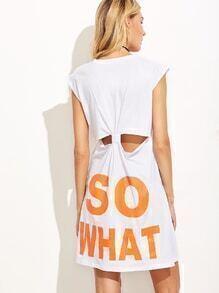White Letters Print Knotted Back Slit Side Dress