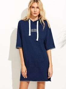 Navy Letter Embroidered Roll Hem Hooded Dress