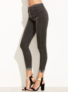 Grey Cuffed Skinny Jeans