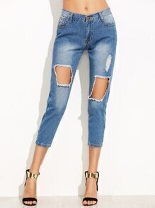 Blue Bleach Wash Ripped Jeans