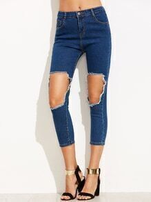 Navy Distressed Ripped Jeans