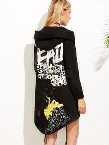 Black Graffiti Print Drawstring Hooded Jacket
