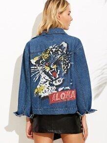 Blue Tiger Print Raglan Sleeve Denim Jacket
