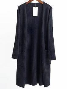 Black Collarless Ribbed Long Pocket Cardigan