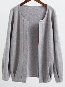Grey Open Front Drop Shoulder Loose Fit Cardigan