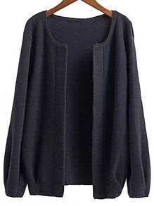 Black Open Front Drop Shoulder Loose Fit Cardigan