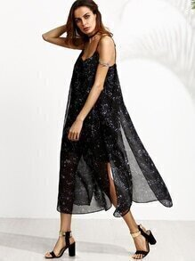 Black Galaxy Print Spaghetti Strap Split Side Dress
