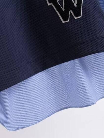 Contrast Color Striped Patch Detail Dip Hem Blouse