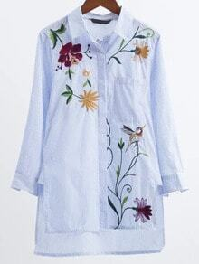 Blue Striped Flower Embroidery High Low Blouse