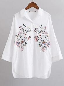 White Flower Embroidery Three Quarter Sleeve Blouse