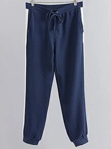 Stripe Side Drawstring Waist Elastic Cuff Hem Pants