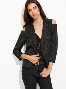 Black Vertical Striped Open Shoulder Single Button Blazer