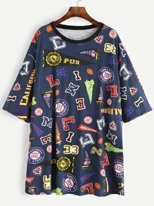Navy Contrast Collar Varsity Patch Print Tee Dress