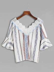 Tribal Print Lace Crochet V Neck Bell Sleeve Blouse