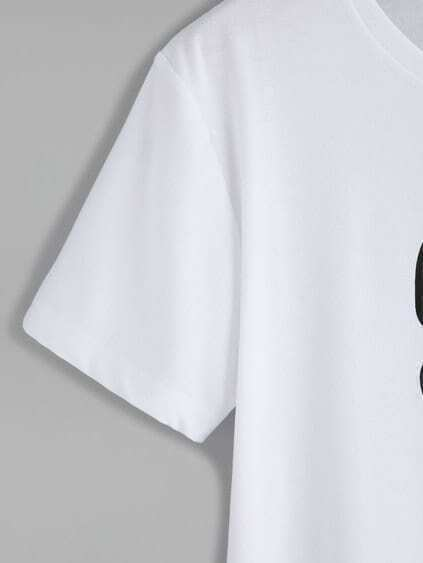 White Number Print T-shirt