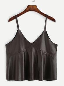 Box Pleated Faux Leather Cami Top