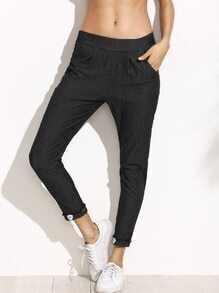 Dark Grey Rolled Hem Patches Elastic Waist Jeans