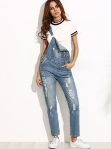 Blue Letter Print Ripped Overall Jeans