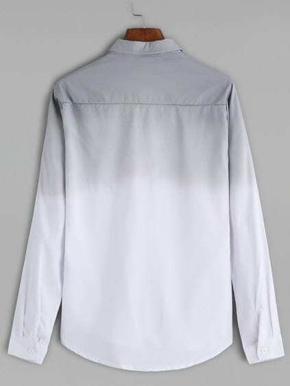 Grey Ombre Curved Hem Shirt
