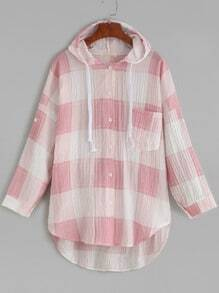 Pink Plaid Roll Tab Sleeve High Low Hooded Blouse