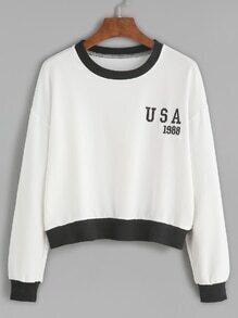 White Embroidered Contrast Trim Crop Sweatshirt