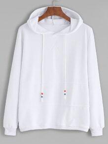 White Contrast Drawstring Hooded Sweatshirt