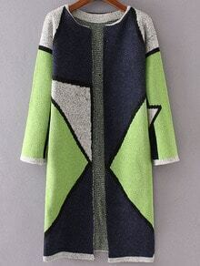 Green Color Block Collarless Long Cardigan