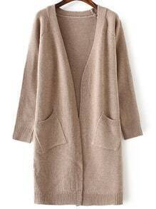 Khaki Collarless Ribbed Trim Long Cardigan With Pockets