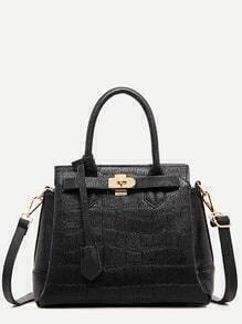 Black Crocodile Embossed Tote Bag With Strap