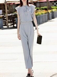 Grey Tie Neck Ruffle Sleeve Pockets Jumpsuit