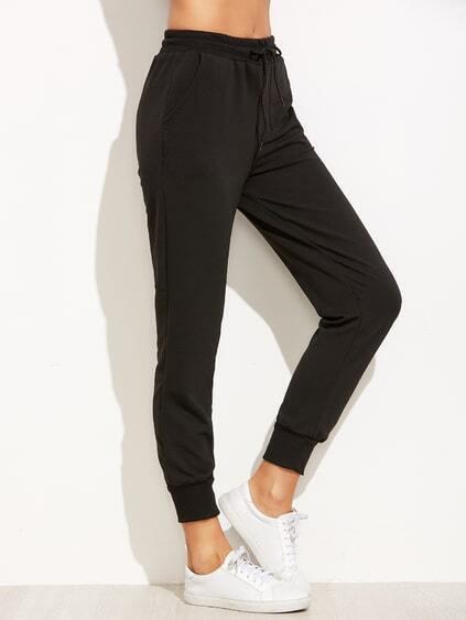 Black Letter Print Drawstring Pants