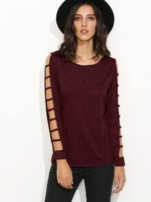 Burgundy Ladder Cut Out Sleeve T-shirt