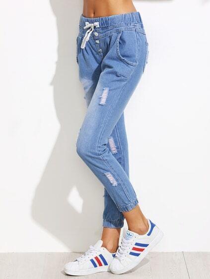 Blue Ripped Drawstring Waist Jeans