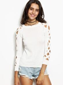 White Lattice Sleeve Hollow Out Sweater