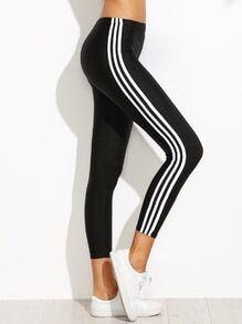 Black Contrast Vertical Striped Side Leggings