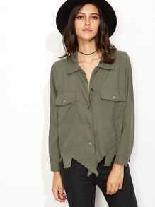 Army Green Asymmetric Distressed Blouse