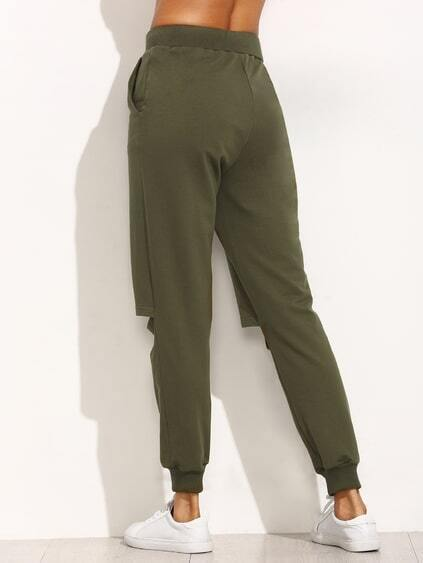 Army Green Tie Cut Out Knee Long Pants