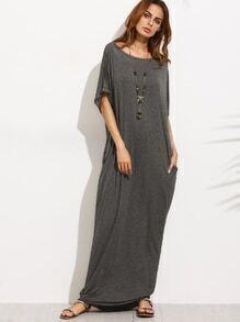 Grey Bow Cutout Back Dolman Sleeve Maxi Dress