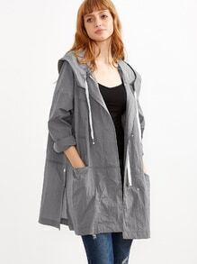 Grey Drop Shoulder Drawstring Hooded Coat With Pockets