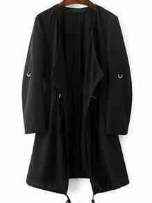 Black Draped Collar Drawstring Chiffon Coat