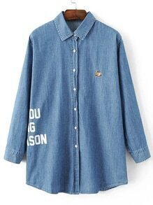 Blue Squirrel Embroidery Letter Print Denim Blouse