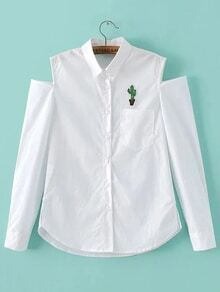 White Cactus Embroidered Open Shoulder Blouse