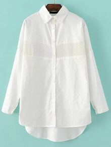 White Lace Trim Back Folds High Low Blouse
