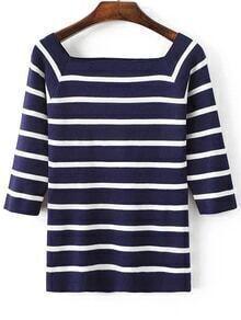 Blue Striped Square Neck Raglan Sleeve Knitwear