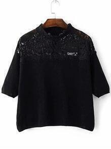 Black Band Collar Lace Trim Knitwear