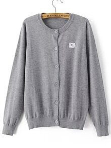 Grey Single Breasted Smile Face Patch Sweater Coat