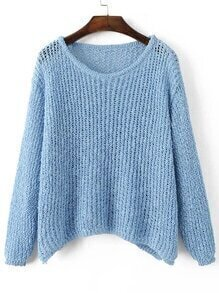 Blue Hollow Out Long Sleeve Batwing Sweater